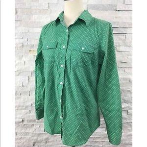 Ll bean green polka dot button up blouse